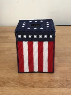 Items similar to Patriotic Tissue Box Cover -- Stars and Stripes Two Styles Available!-- Plastic Canvas on Etsy Plastic Canvas Tissue Boxes, Plastic Canvas Crafts, Plastic Canvas Patterns, Plastic Craft, Plastic Mesh, Crochet Humor, Plastic Canvas Christmas, Ppr, Monster High Dolls