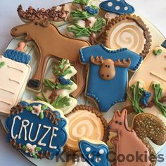 "Woodland moose themed baby shower cookies by Krauft Cookies in Fayetteville, Arkansas.   289 Likes, 13 Comments - Liz Krauft (@krauftcookies) on Instagram: ""I loved making these moose themed baby shower cookies! #moose #moosecookies #woodlandbabyshower…"""
