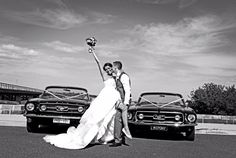 Our 1966 and 1967 GT Convertible Ford Mustangs at Barwon Heads for Daniel and Stephanie's wedding shoot - photo by Balkan Photography.