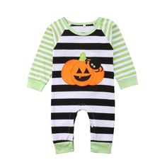 6bfaa870a6a0 2018 Newborn Baby Kids Boys Girls Long Sleeves Pumpkin Romper Jumpsuit  Green Striped Cotton Outfit Autumn Halloween Set