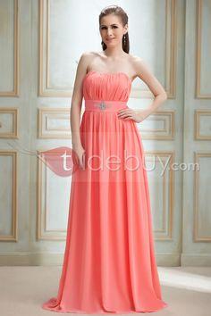 魅力Aラインストラップレスノースリーブ床まで届く長さルバ花嫁介添人ドレス