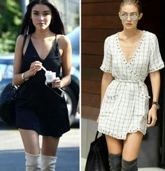 Mais duas inspirações lindas de verão! Para dias menos quentes.♥️💥 Vestidinho fino e botas over the knee. #fashion #streetstyle #minidress + #overtheknee #madisonbeer #gigihadid