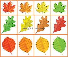 Fall Leaf Lacing Cards Collage 1