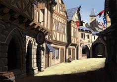 My journey into art: Idea for a medieval town scene Fantasy Town, Medieval Fantasy, Fantasy Art, Environment Concept Art, Environment Design, Tangled Concept Art, Town Drawing, Minecraft Medieval, City Landscape