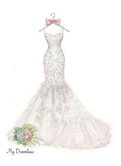 Dreamlines Wedding Dress Sketch Dress 7
