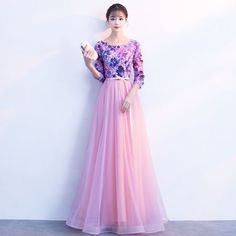 Chic / Beautiful Candy Pink Prom Dresses 2018 A-Line / Princess Appliques Bow Scoop Neck 3/4 Sleeve Floor-Length / Long Formal Dresses