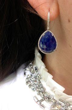 Bridal Jewelry #bridal #weddings #earrings #blue #sapphire #diamonds #somethingblue #mixitup #couture #fashion