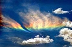 A summertime occurrence, the fire rainbow is an extremely rare phenomenon that occurs when sunlight hits frozen ice crystals in high-altitude cirrus clouds.