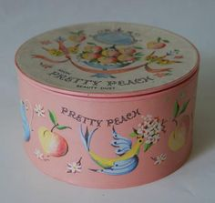 Avon Pretty Peach Powder Box. I was always given a powder box as well as everything my aunty Jenny could think of buying. Indeed she and my cousin Jean spoilt me rotten. KMW