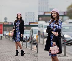 Sheinside Coat, I Clothing Dress, Mia May Booties, H&M Beanie, River Island Bag