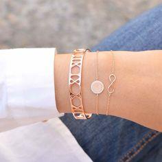 Cercle Diamanté Rose Gold Bracelet - Majolie  14€. Je ne pense pas que ce soit de l'or rose sur argent à ce prix..; voir les avis sur la durabilité