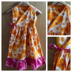 Hippie/Boho Retro Flower Print Wrap Dress, girls size 8 by SewMeems on Etsy
