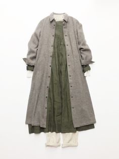リネンストライプシャツワンピース / Charcoal gray | コーディネート|nest Robe ONLINE SHOP