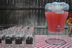 """I Do"" BBQ tablescape, Mason Jars for glasses with chalkboard labels on them"