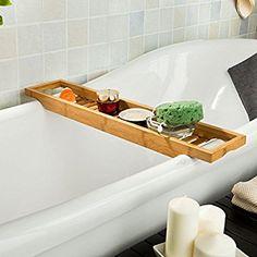 SoBuy® Ripiano per vasca da bagno in bambù,Scaffale da bagno, Set di accessori per il bagno, FRG18(L70*L14.5*A4.5cm),IT