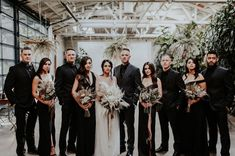 Bridal party in all black and rue de seine dotted wedding dress at the Millwick in Downtown Los Angeles Arts District DTLA Black Suit Wedding, Wedding Suits, Wedding Attire, Boho Wedding, Dream Wedding, Geek Wedding, Gothic Wedding, Medieval Wedding, Wedding Ideas