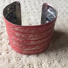 FREE PEOPLE Painted MetaL cuFF aged RED bracelet rustic Tin MetaL cuFF in a sun-kissed aged RED. I love this color!!  Flexible tin makes it adjustable to wrist sizes. Such a cool unusual piece. Free People Jewelry Bracelets