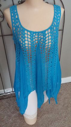 SHORELINE Sleeveless Beach Cover-Up Tunic Crochet-Look Blue Sz L/XL #Shoreline #CoverUp