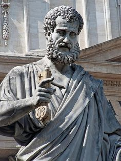 St Peter with the keys to the kingdom in front of St. Peter's Basilica in Vatican City Ignatius Of Antioch, Nicene Creed, St John Bosco, St Monica, Saint Dominic, St Clare's, Church Crafts, My Church, Christianity