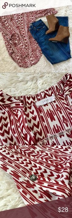 LUSH Patterned Tunic Red and white patterned 3/4 sleeve blouse by Lush (a Nordstrom brand). Roll-up sleeve detail. Excellent condition. Measurements coming soon. Xs--would definitely work for a small also. All offers welcome! Lush Tops Blouses