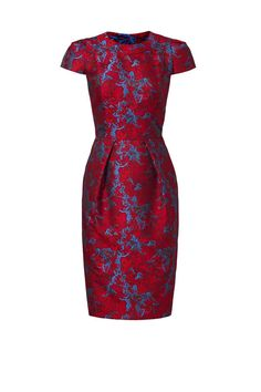Carmen Marc Valvo Cranberry Jacquard Dress - 12 Dresses to Rent this Holiday Season - Southernliving. Rent It: $90