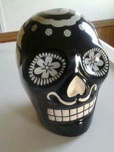 Day of the dead Ceramic Sugar SKULL Black with White Large Dia de los Muertos $24.99