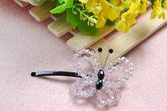 The final look of crystal butterfly hair clip tutorial