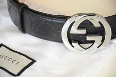 8809313776d Authentic GUCCI Black Guccissima Leather SILVER GG Buckle size 105 42 fits  36-38