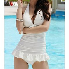 Sexy Halterneck Ruffle Embellished Solid Color One-piece Swimsuit For Women