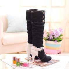 New Womens Ladies Cowboy Buckle Decor Jeans Mid Heels Knee High Denim Boots Size
