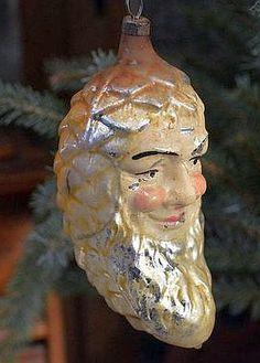 Antique Glass Christmas Ornament Pine Cone Santa. Blown Glass Christmas Ornaments, Pinecone Ornaments, Antique Christmas Ornaments, Santa Ornaments, Victorian Christmas, Vintage Ornaments, Vintage Santas, Christmas Baubles, German Christmas Decorations