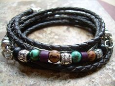 Triple Wrap Braided Leather and Gemstone by UrbanSurvivalGearUSA, $32.99