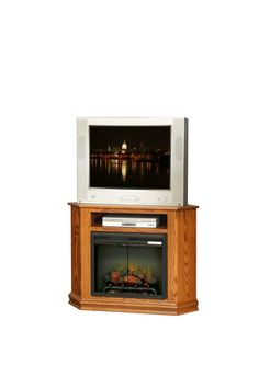 """Amish Corner TV Stand with 23"""" Fireplace Insert"""