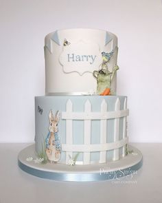 Blue and white baptism cake of Peter Rabbit with hand painted detail - Baby Shower Peter Rabbit Cake, Peter Rabbit Birthday, Peter Rabbit Party, Bunny Birthday, Beatrix Potter Cake, Christening Cake Boy, Sugar Cake, Painted Cakes, First Birthday Cakes