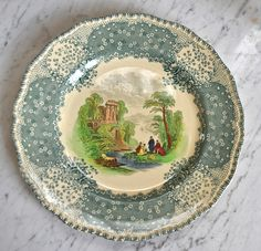 2 Color Teal Transferware Plate Country French Picnic on the River Scene Royal Doulton Chatham 9 Vintage Plates, Vintage Dishes, Vintage China, Country French, French Country Decorating, French Picnic, Romantic Kitchen, Green China, China Patterns