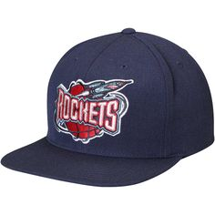 196b731e6ae87a Men's Houston Rockets Mitchell & Ness Navy Hardwood Classics Wool Solid  2 Adjustable Hat