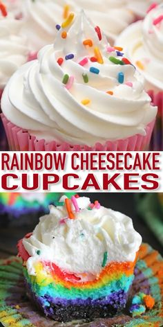 ini Rainbow Cheesecakes are incredibly easy to make and very festive. ini Rainbow Cheesecakes are incredibly easy to make and very festive. Köstliche Desserts, Best Dessert Recipes, Cheesecake Recipes, Cupcake Recipes, Baking Recipes, Cupcake Cakes, Cheesecake Brownies, Fudge Brownies, Health Desserts