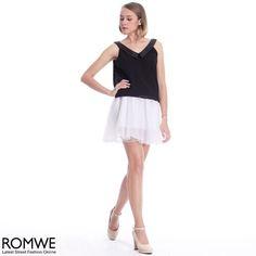 ROMWE Deep V Black Sleeveless Vest