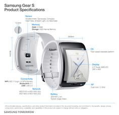 Gear S - Samsung • Smartwatch with a curved touch display and 3G connectivity.