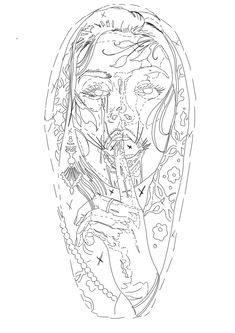 Sketch Tattoo Design, Tattoo Sketches, Tattoo Drawings, Tattoo Designs, Skull Girl Tattoo, Girl Face Tattoo, Chest Tattoo Stencils, Tattoo Crane, Tattoo Outline Drawing