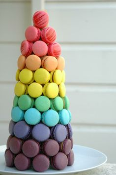 Macaroons Tower Recipe - Rainbow Food Recipes