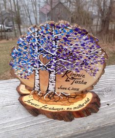 Birch or Aspen Trees Wedding Cake Topper personalized and coordinated with your wedding colors! #2016JL04