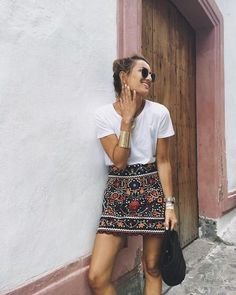 Boho Style Skirts l Floral Mini Skirt l Summer Outfits l Casual Street Style Fashion Looks Street Style, Looks Style, Mode Outfits, Retro Outfits, Teen Outfits, Fashion Outfits, Party Outfits, Casual Outfits, Summer Outfits Boho Chic