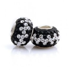 Silver White And Black Flowers Crystal Bead
