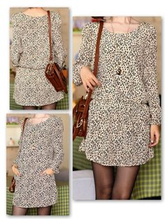 LEOPARD PRINT DRESS (full sleeves, with pockets)  Product Code- CC 12  Size- Small  Measurements- Length-82 cm; Bust- 88 cm; Waist- 66-96 cm; Sleeve- 61 cm; Shoulder- 35 cm  Price- Rs. 1690 plus delivery charges    For Bookings and more information, please mail caramelcollectives@gmail.com