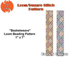 Basket, Basketweave, Loom or Square Stitch Bracelet Pattern, Cuff Pattern, Instant Download
