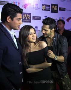 Varun Dhawan and Alia Bhatt during the promotions of 'Humpty Sharma Ki Dulhaniya' in Chandigarh with Siddharth Shukla.