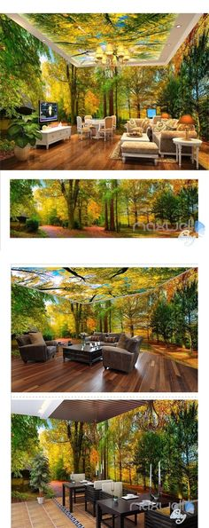 Woods park Autumn Forest Tree Top theme entire room wallpaper wall mural decal art print - saleh f - Cheap Tiny House, 3d Wallpaper For Walls, Tree Wallpaper, Wall Mural Decals, Ceiling Murals, Wall Decor Design, Kitchen Wall Colors, Home Decor Bedroom, Bedroom Colors