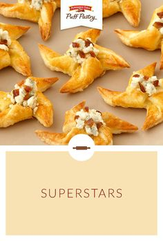 Pepperidge Farm Puff Pastry Superstars Recipe. Celebrate that all-star graduate with these whimsical snacks. Puff Pastry stars are simple to assemble and make the perfect base for tons of tasty toppings. Serve simply with garlic and herb cheese or top with creamy Gorgonzola and dates for a spectacular appetizer. Or serve the pastry stars for dessert drizzled with chocolate, sprinkled with powdered sugar or nestle atop a scoop of your favorite ice cream.