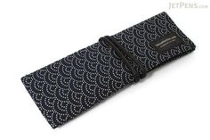 Saki P-661 Roll Pen Case with Traditional Japanese Fabric - Navy - SAKI 661077